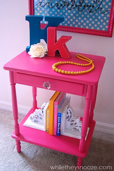 Think Pink:  Trashed Nightstand Refabbed