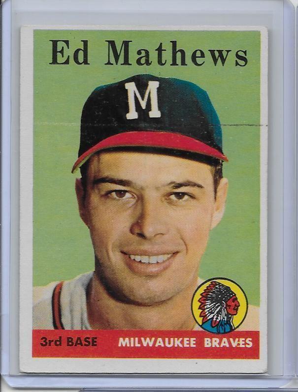 1958 Topps 440 Ed Mathews Ex Braves Hof Card Atlantabraves