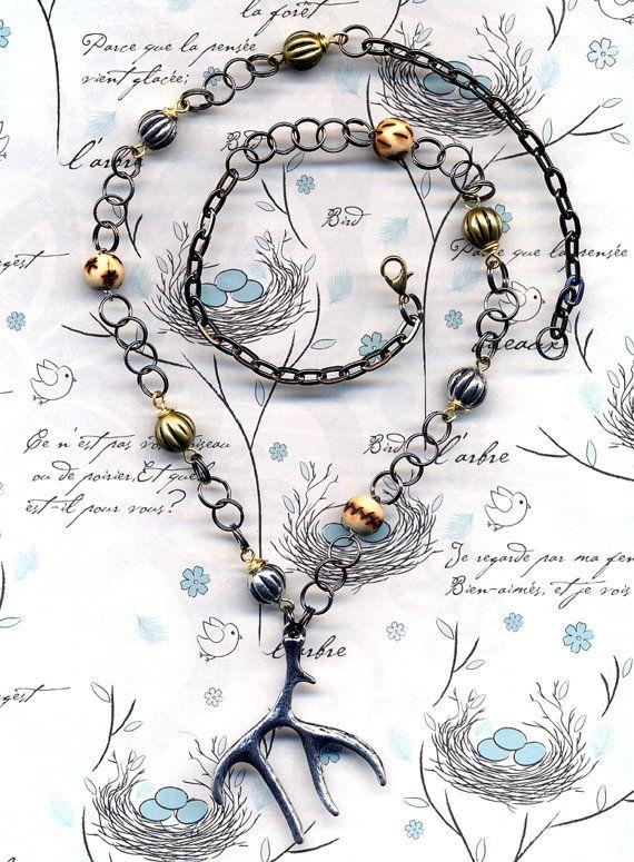 Big Antler Pendant Necklace Burned Wood necklace by Annaart72