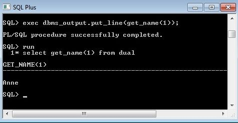SQLPlus Pl/SQL function