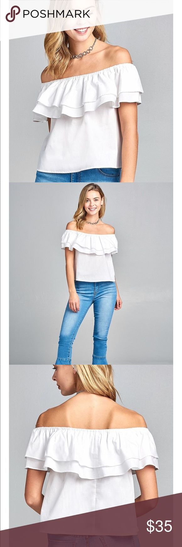 *COMING SOON* Double Ruffle Off Shoulder Top Double Ruffle Flounce Off Shoulder Top 100% Cotton  Lightweight & Perfect for Spring/Summer ☀️  Please feel free to comment and request a size 👍 Tops