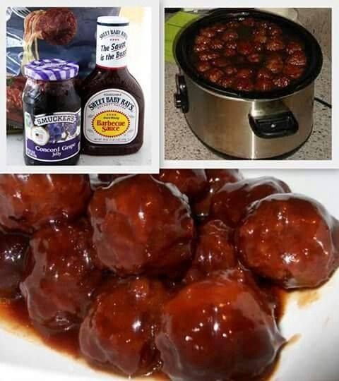 BARBECUE & JELLY MEATBALLS 1 bottle (18 oz.) Sweet Baby Ray's Original BBQ Sauce 2 pounds frozen, prepared meatballs 2½ cups grape jelly DIRECTIONS Combine Sweet Baby Ray's BBQ sauce with grape jelly in crock pot. Stir well. Add frozen meatballs to mixture and stir until evenly coated. Cover and cook on high heat for 3.5 hours, stirring about 2 hrs in.