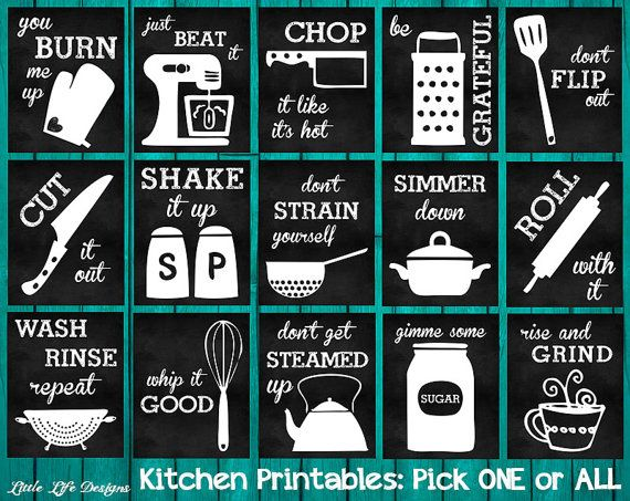 Please read entire description before purchase :)  Mix and match kitchen chalkboard style printables. Buy them all or just buy a few, whatever your heart desires please do :) Just let me know which one(s) you want in the notes to seller section during the checkout process.  Printable Choices Include: - Just Beat It - Dont Flip Out - Wash Rinse Repeat - Be Grateful - Roll With It - Whip It Good - Shake It Up - Dont Get Steamed Up - Rise and Grind - Chop It Like Its Hot - Simmer Down - Gimme…