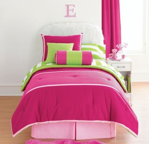 hot+pink+green+bedding | Comforter ensemble with all items that were offered for this set ...