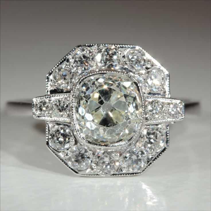 Vintage Art Deco 2.4ctw Diamond Engagement Ring in 18k Gold & Platinum from vsterling on Ruby Lane