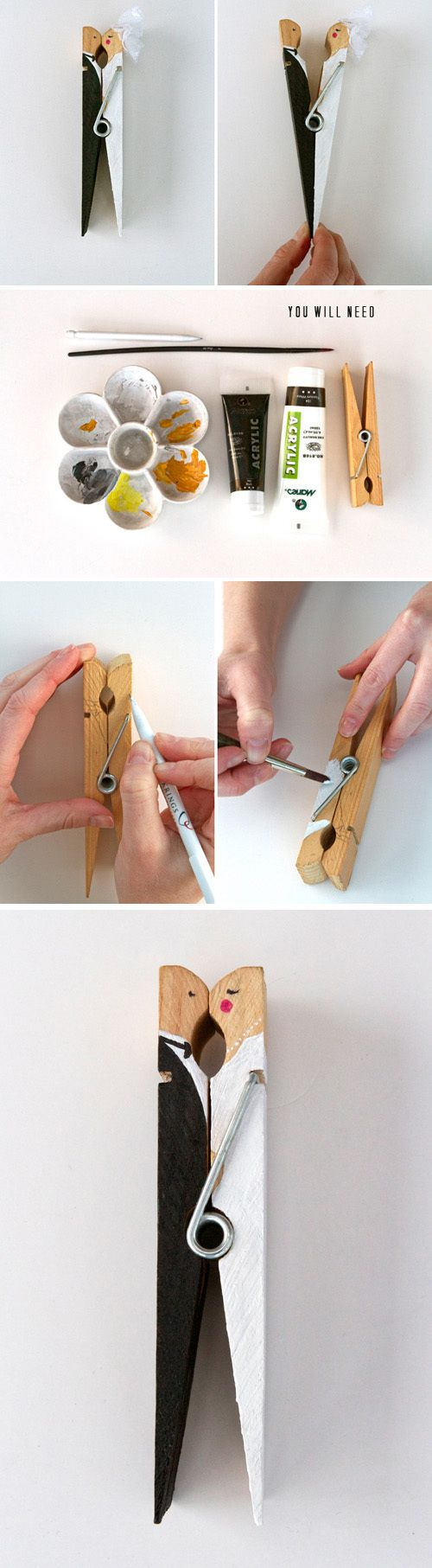 Cute Clothespin DIY ~ Great newlywed gift idea, just attach it to the card!!