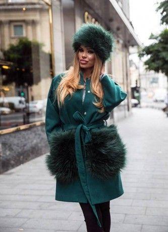Emerald Green Krista Coat & Fur Hat New Arrivals | ChicDiva