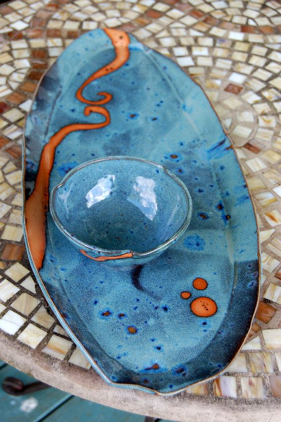 Platter and Dipping Bowl in Slate Blue with Rust by pagepottery