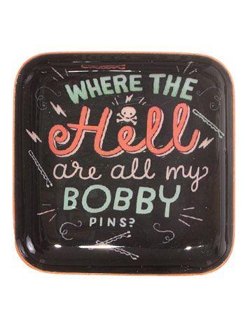 WTH Bobby Pins Enameled Metal Dish by Orange Circle Studio, Home Decor, Blue