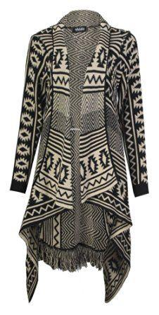 Forever Womens Aztec Stripe Diamond Print Knitted Waterfall Cardigan