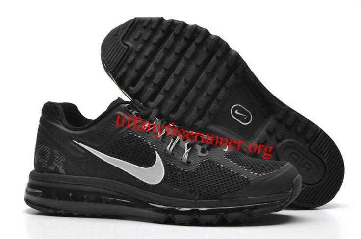 Mens Nike Air Max 2013 Black Dark Grey Silver Shoes
