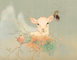 This is my FAVORITE lamb picture...next tattoo?  Lamb Art Print by Maribel N. Navarro | Society6