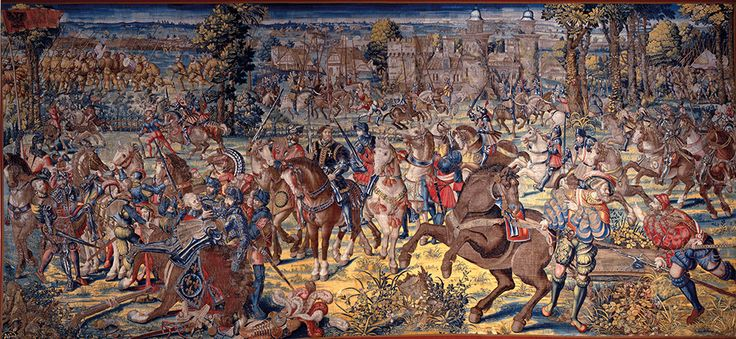 Manifattura fiamminga su disegno di Bernard van Orley Battaglia di Pavia con la cattura del re di Francia, 1528-31 Arazzo in lana, seta, argento e oro cm 435 x 789 Napoli, Museo Nazionale di Capodimonte.