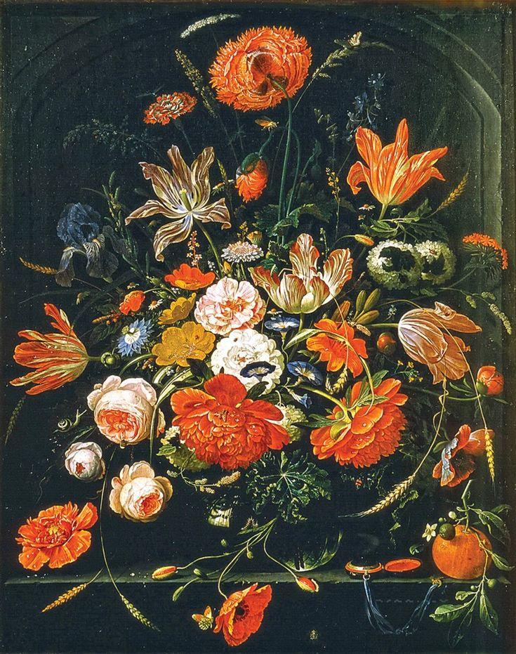 Abraham Mignon Цветы в стеклянной вазе (др. типография полотна) Flowers in a Glass Vase circa 1670 oil on canvas 90 cm cm 72.5 cm Royal Picture Gallery Mauritshuis