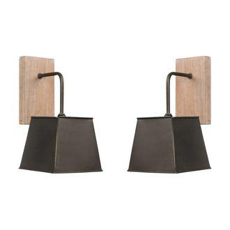 Lot de 2 appliques en bois patiné avec abat jour carré en métal hauteur 30cm Fabrik