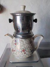 Superbe ancienne cafetière DELPHINA. Céramique, inox.