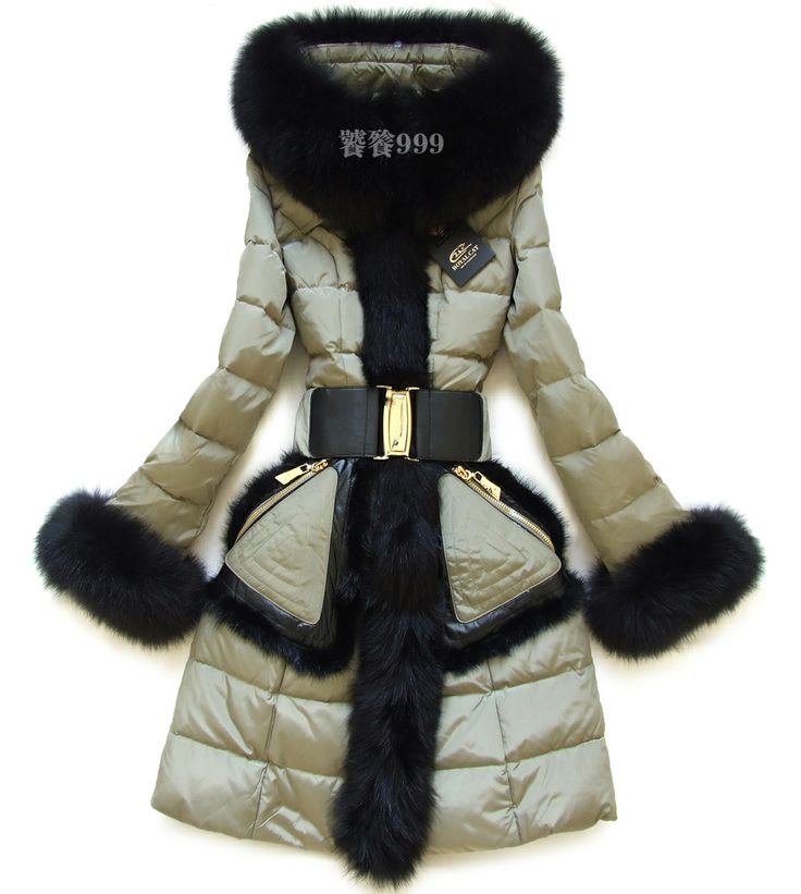 Top Quality Table two-color fox fur Mink hair Brand Royal Cat Design long Fitted Female with Geniue Fur XXL $398.00