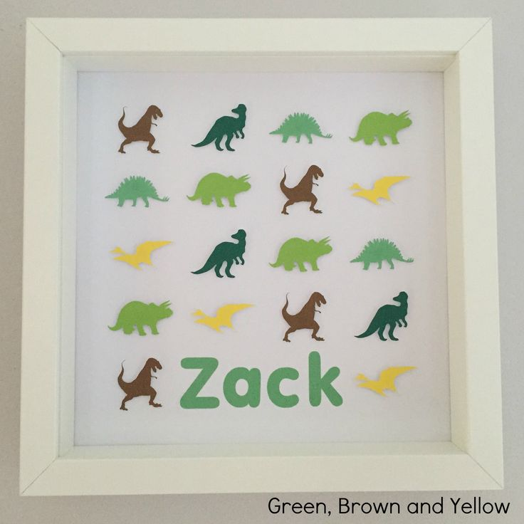 "Frame dimensions - 9""x9"" (23cm x 23cm)Colours – * Green, Brown and Yellow - CL5, CL8, CL22, CL23, PC4, CL9Choose this colour scheme or something in your own choice of colours for the same price. Name or details personalisation for no extra cost. Intricate handmade dinosaur framed art. Every dinosaur is cut and raised to create a unique 3D effect.An ideal personalised gift for a child. Great for a birthday or to compliment a child's bedroom. Set ..."