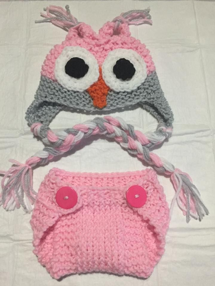 Just finish this earflap owl hat and diaper cover for a newborn little girl!  Kids Apparel By Avo