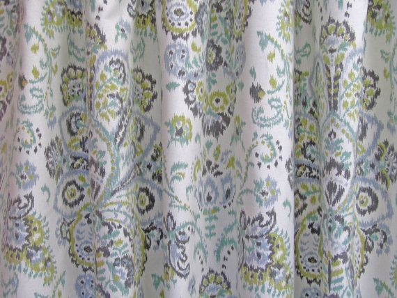 Grey Damask Curtains, Ikat Damask Window Curtains, Gray Green Boho Drapes, Modern Curtains, Rod-Pocket Curtains, One Pair Custom 50W This listing is for a made to order standard pair of rod-pocket curtain panels made from a beautiful cotton duck home decorator fabric. This