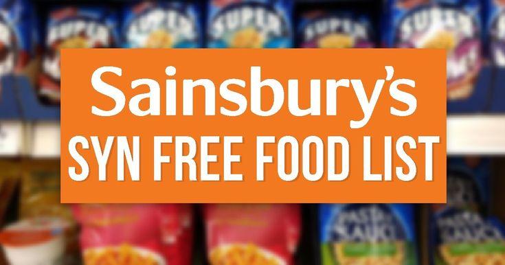 Sainsbury's Syn Free Food List