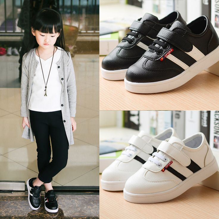 kids shoes boys 2016 new spring autumn fashion black and white sport fashion girls shoes child running leather casual shoes alishoppbrasil