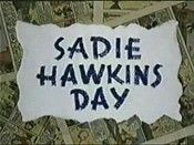 Sadie Hawkins Day @ BCDB: The cartoon opens on a recreation of a full page color Li'l Abner strip, and mixes through to a static panel, complete with speech balloon. Then the balloon disappears and the characters start to move and speak.. , Watch Cartoon Video @ http://www.bcdb.com/cartoon_characters/840-Sadie_Hawkins_Day.html