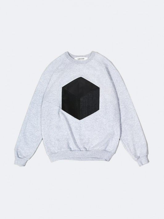 cube patchwork crewneck sweatshirt