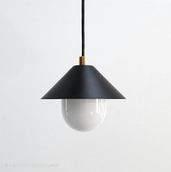 Modern Pendant Light - Mid Century Pendant Light - Minimal Pendant Lamp - Brass…
