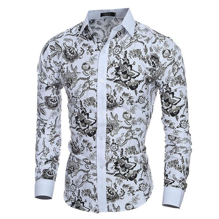 Buy Elegant Noble Floral Prints Men Shirt Fashion Mens Shirts Long sleeve Slim Fit Casual Social Camisas Masculinas Chemise homme at The Royal Boutique for only $23.99
