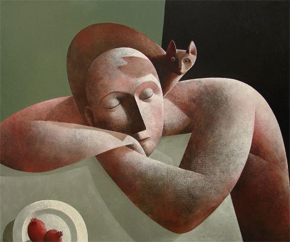 'Man met Kat en Granaatappels' (Man with Cat and Pomegranates)' by Dutch artist Peter Harskamp (b.1951). Oil on canvas, 100 x 120 cm. via the artist's site