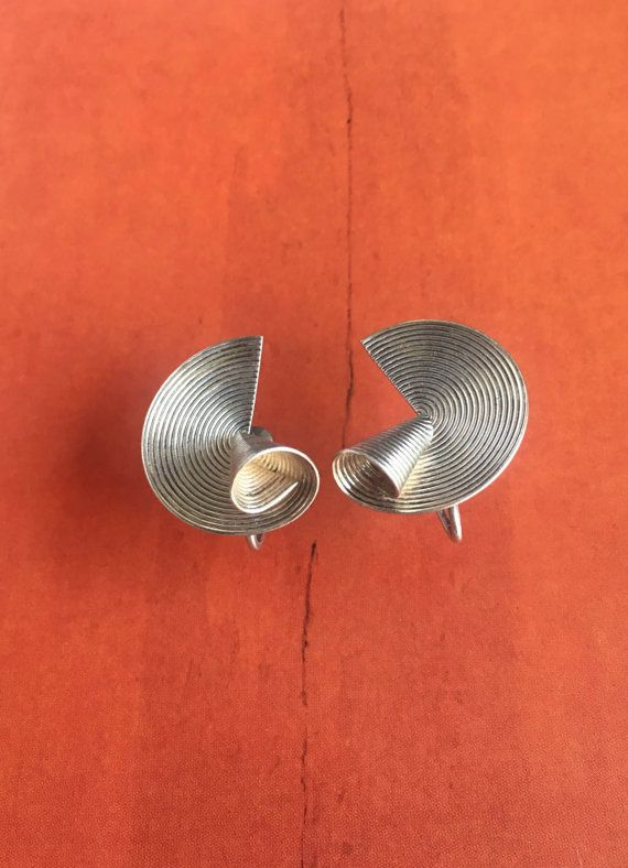 1950s Modernist Earrings Stunning Sculptural by TooArtfulForYou