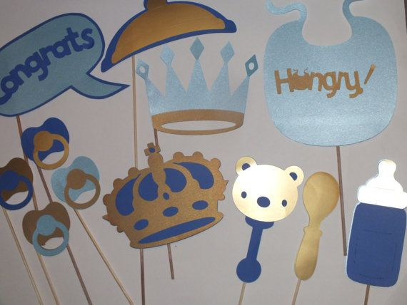 LITTLE KING photo booth props gold  and blue on Etsy, $23.00