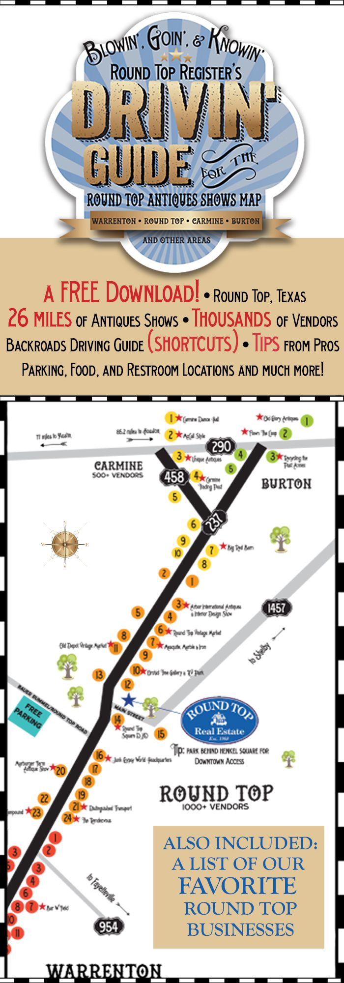 Round Top Antiques Show map helps newbies and veterans navigate the 20-plus mile long antiques venue in Central Texas.