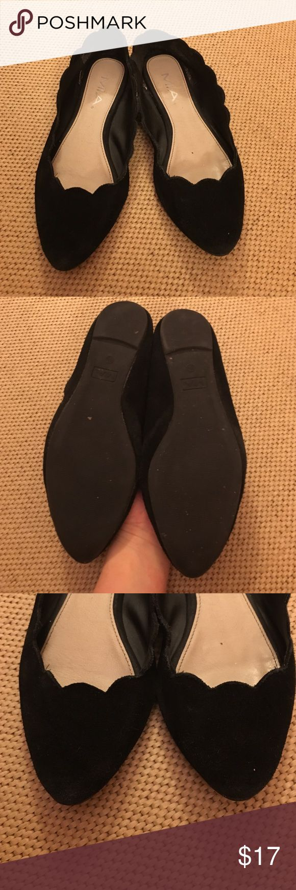 MIA black suede scalloped pointed ballet flats 8.5 Cute black suede ballet flats by MIA. Some wear on the suede as well as some dirt. Soles still in good condition. Some wear on the inside. Still has a lot of life left in them. MIA Shoes Flats & Loafers