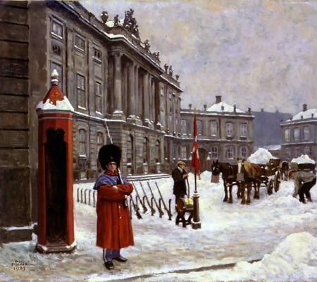 Paul Gustave Fischer (1860-1934): Amalien Palace Square, 1929