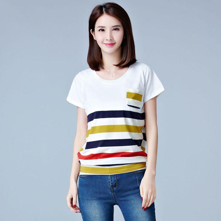 >> Click to Buy << Poleras De Mujer Moda 2017 Stripe T-Shirt Women T Shirt Femme Womens Tops Summer Tshirt Cotton Loose Casual Woman Korean Clothes #Affiliate