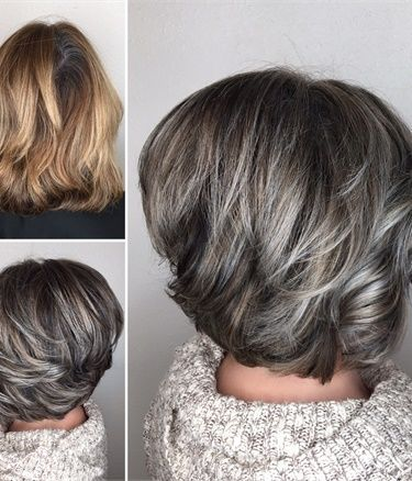 Hairstyle Of Gray Hair With Highlights To Accent Pinkous