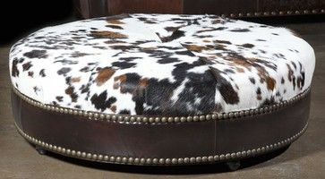 Western hair hide Ottoman. Luxury Furniture rustic-ottomans-and-cubes