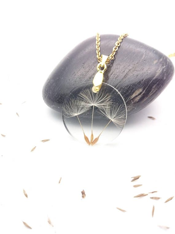 Round dandelion seeds resin necklace gold steel chain//Wish pressed flower pendant//Handmade botanical pendant//Terrarium real seed