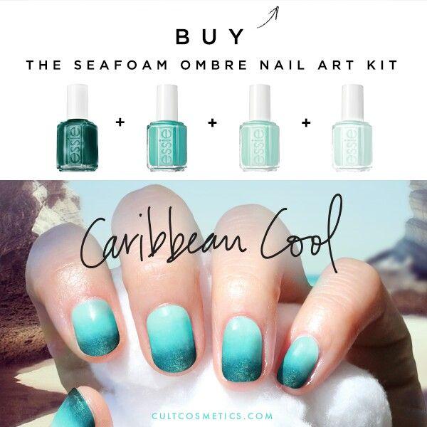 16 Super Cool Ombre Gradient Nail Art Tutorials: Seafoam Ombre Nail Art
