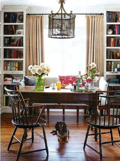 Dining room bookcases: Dining Rooms, Bookshelves, Idea, Built Ins, Window, Dining Table, Space