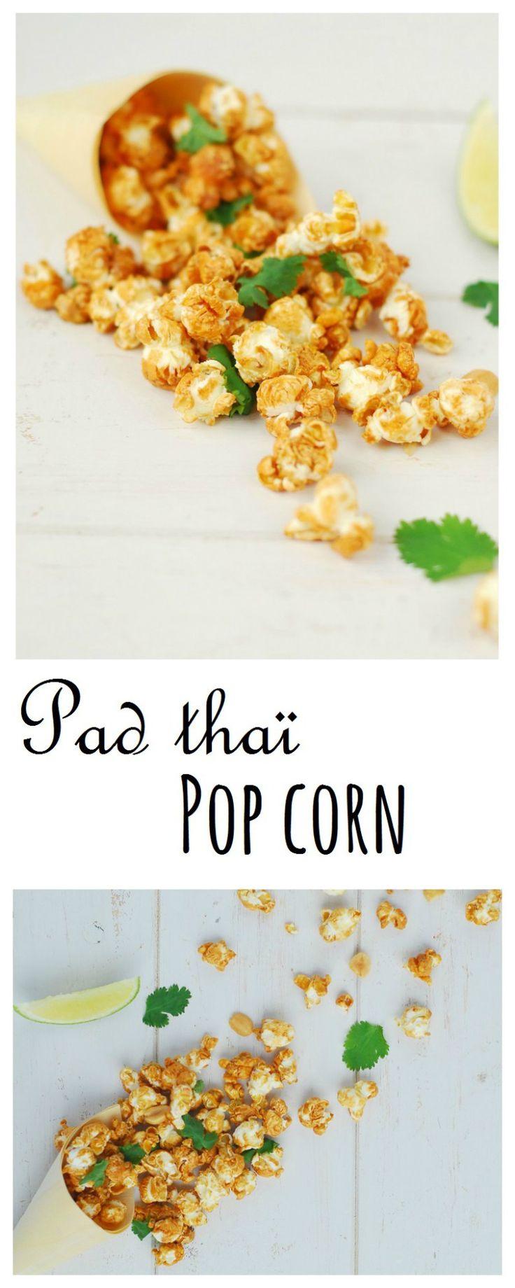 Pad thai pop corn -  Une recette de pop corn salé aux saveurs de cacahuètes, coriandre sucré-salé pour un apéritif qui sort de l'ordinaire!!