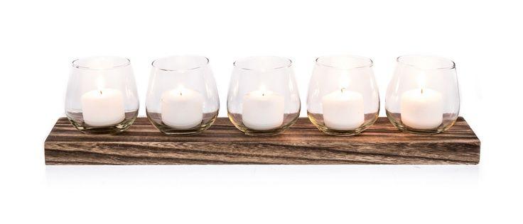 Wooden Tealight Holder w 5 Glass Cups - Clear - 50.5 x 10.5 x 12cm - Wood/Glass - Casa Uno