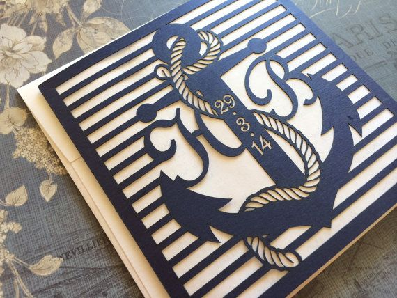 This listing is for laser cut anchor wedding invitation complete with intricate detail. Ideal for a nautical themed wedding day. The card is