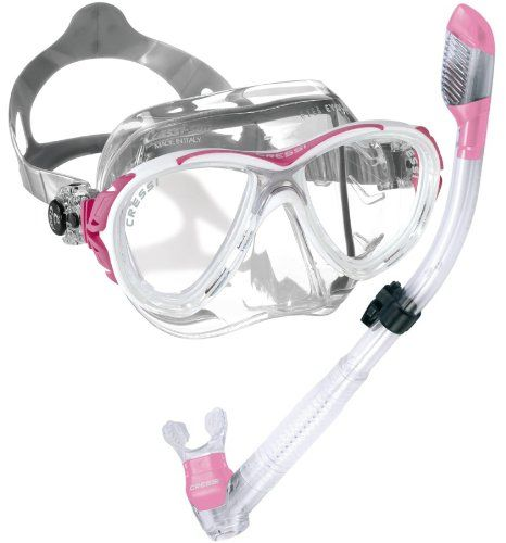 Cressi Eyes Evolution Crystal Mask Dry Snorkel Set, PK. Downward visibility is increased by 25% compared to the Matrix. Special structure of the skirt has differentiated rigidity. Instantly adjustable buckles that are joined to the headband with an indestructible elastic element. The mask rests on the face with unprecedented comfort and does not leave any marks on the skin, even after extended use. Pink. Minimum internal volume. Skirt in Cressi Crystal Silicone.