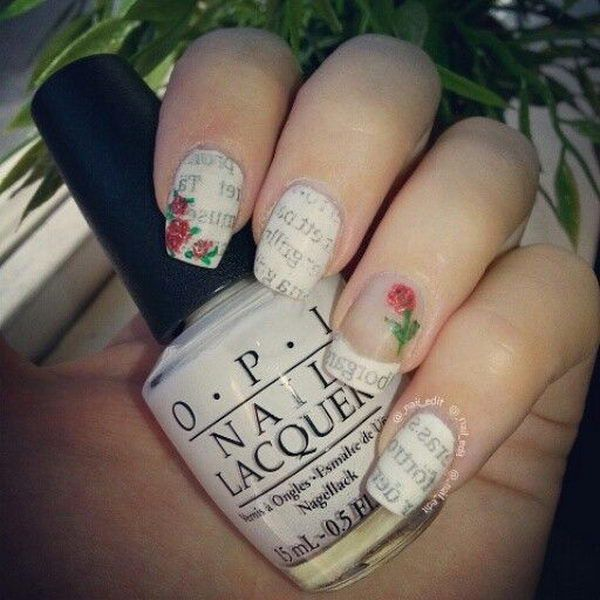 Newspaper Nails with Roses, Cool Newspaper Nail Art Ideas, http://hative.com/cool-newspaper-nail-art-ideas/,