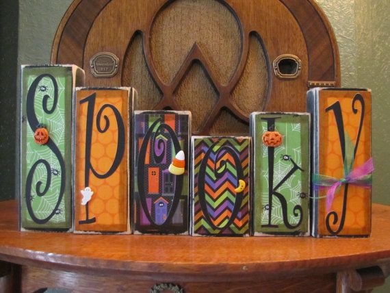 Halloween Decor Spooky  Word Blocks Sign by PunkinSeedProduction, $36.00