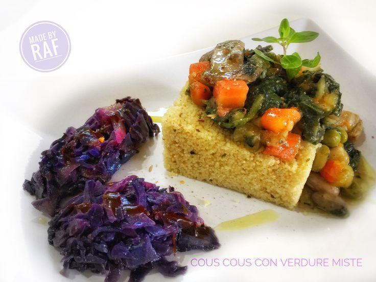 cous cous con verdure miste e quenelle di cavolo rosso brasato.