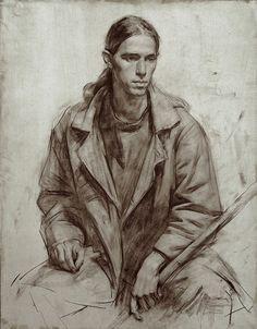 Gilberto Geraldo, Sepia on colored paper